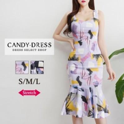 【予約】S/M/L 送料無料 Luxury Dress ストレッチ×マルチカラーペイントプリントノースリーブマーメイドミディドレス PE200504 韓国 ブ