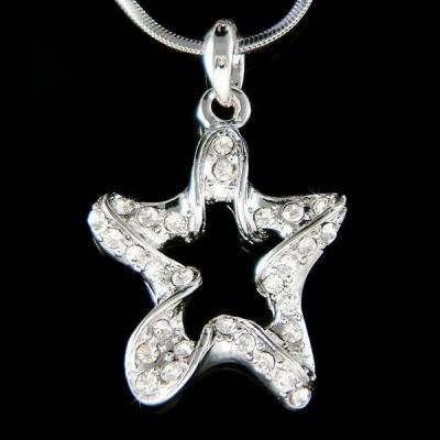 ネックレス インポート スワロフスキ クリスタル ジュエリー ~Twinkle Wish Star made with Swarovski Crystal Charm Chain Necklace Jewelry Xmas