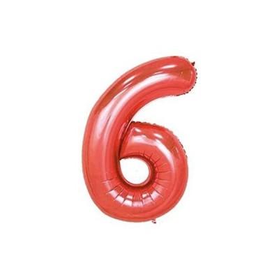 パーティーパーク アルミバルーン レッド 赤色 数字 ナンバー 09選べる 組み合わせ自由 約90cm 誕生日 誕生会 パーティー(レッド 6)