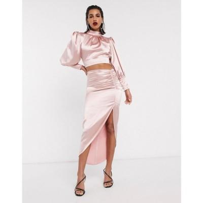 エイソス ASOS EDITION レディース ひざ丈スカート スカート satin midi skirt with ruched detail ピンク
