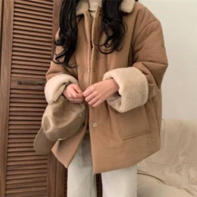 2色 ボア付き ジャケット コート アウター ブラック ベージュ カジュアル 可愛い レディース ファッション 韓国 オルチャン