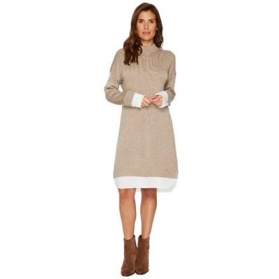 カルバンクライン ワンピース トップス レディース Sweater Dress with Shirting Heather Camel
