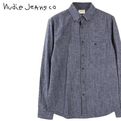 ヌーディージーンズ Nudie Jeans 長袖シャツ メンズ ボタンダウンシャツ コットン シャンブレーシャツ STANLEY/NEPPY BLUE