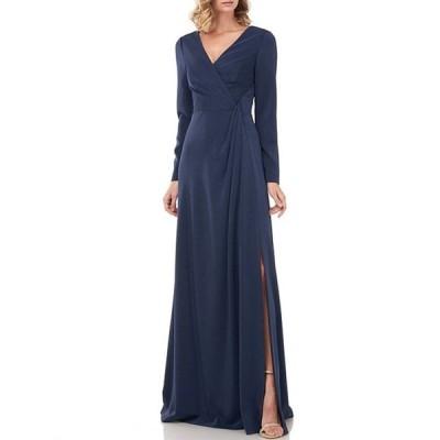 ケイ アンジャー レディース ワンピース トップス Adelina Ruched Front Long Sleeve Front Slit Stretch Faille Gown