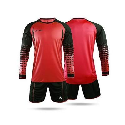 KELME Soccer Goalkeeper Long Sleeves Jersey & Shorts for Mens Kids (Red, Small)【並行輸入品】
