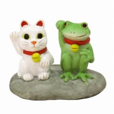 コポー まねきねことカエル  猫 ねこ cat キャット 縁起物 置物 小物 オブジェ カエル ネコ 招き猫Copeau 雑貨 置き物 置物 オブジェ ガ