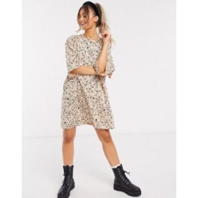 エイソス レディース ワンピース トップス ASOS DESIGN oversized t-shirt dress in mini leopard Leopard print