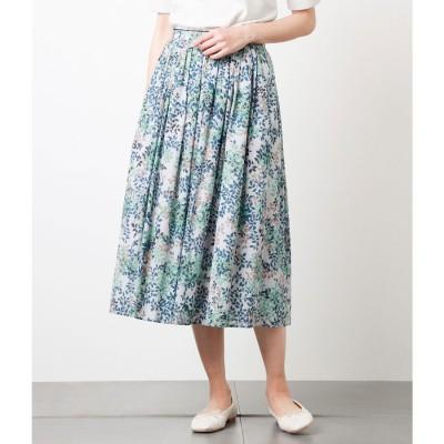 ニューヨーカー NEWYORKER リーフプリント 後ろウエストゴム ギャザースカート (ライトグレー)