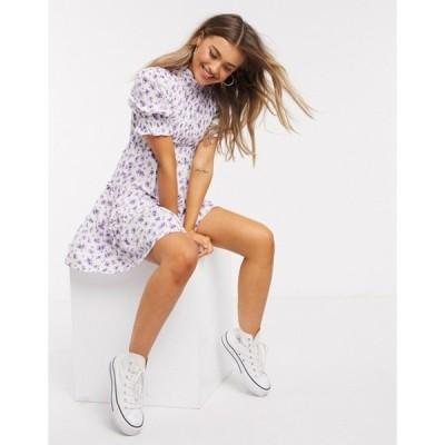インフルエンス レディース ワンピース トップス Influence shirred bust puff sleeve mini dress in lilac floral