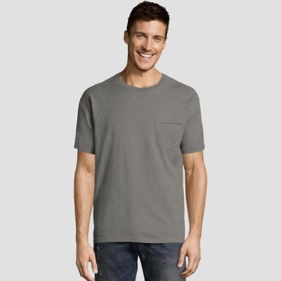 ヘインズ Hanes メンズ Tシャツ ポケット トップス Short Sleeve 1901 Garment Dyed Pocket T-Shirt Gray