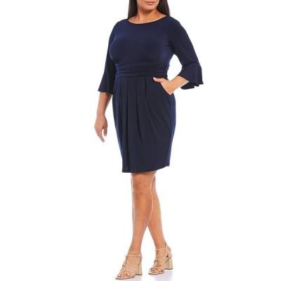 エリザジェイ レディース ワンピース トップス Plus Size 3/4 Bell Sleeve Ruched Waist Jersey Sheath Dress Navy