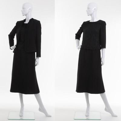 喪服 礼服 ブラックフォーマル スカートスーツ ブラウス付 3点セット ミセス〜シニア