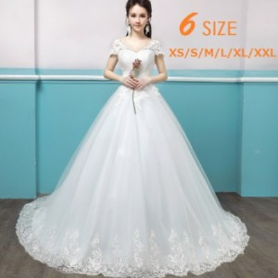 Vネック レース 花嫁ドレス 結婚式 ウェディングドレス ホワイト トレーンドレス ラインストーン チュール ウェディング
