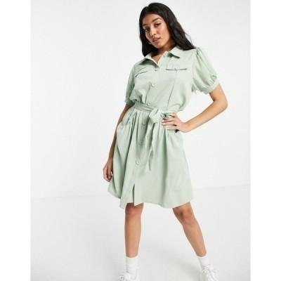 QEDロンドン レディース ワンピース トップス QED London tie waist shirt dress in mint Mint