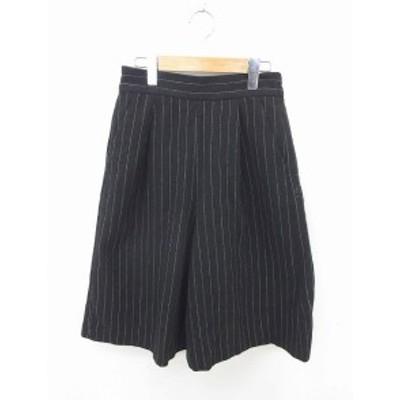 【中古】レイビームス Ray Beams パンツ ワイド ガウチョ スカーチョ ストライプ 綿 0 黒 白 ブラック ホワイト