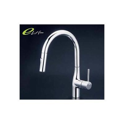 KVK 水栓金具【KM6061V11EC】流し台用シングルレバー式シャワー付混合栓 グースネック シャワー引出しタイプ eレバー