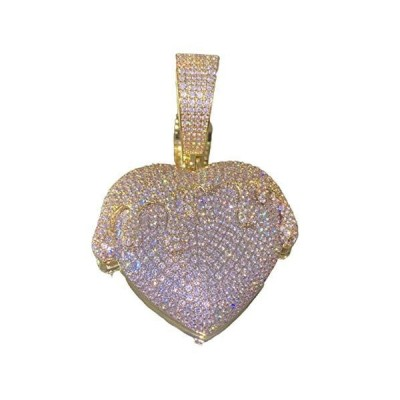 Shop-iGold Mens 14k Gold Finish Money Heart Pendant Iced Prong Set for Cuban Chain Men, Miami Fits to Cuban Link Chain Choker Necklace (Hear