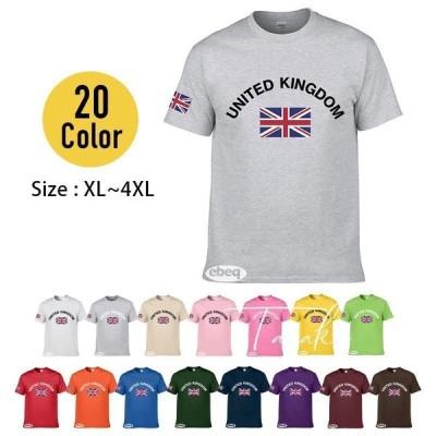 Tシャツ メンズ 男性用 トップス 半袖 カットソー ラウンドネック ユニオンジャック イギリス国旗 プリント柄 英字ロゴ かっこいい おしゃれ シン