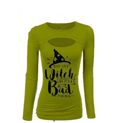 レディース 衣類 トップス Women Printed Hollow Out Halloween Long Sleeve T-Shirt Tシャツ