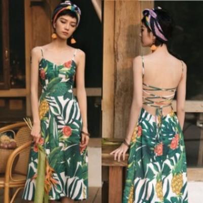 パーティードレス 結婚式 二次会 お呼ばれ ワンピース ノースリーブ バックリボン 花柄 ボタニカル柄 キャミワンピ