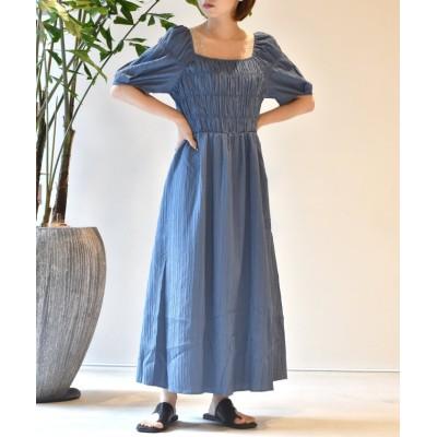【ダブルクローゼット】 シャーリングワンピース レディース ブルー FREE w closet
