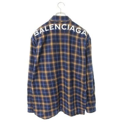 バレンシアガ BALENCIAGA 508465 TYB16 サイズ:39 バックロゴオーバーサイズチェック長袖シャツ 中古 NO05