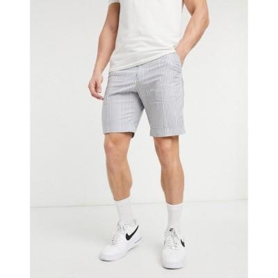 エイソス ASOS DESIGN メンズ ショートパンツ ボトムス・パンツ slim smart shorts in white and blue stripe ホワイト