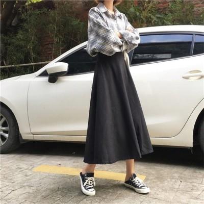 スカートボトムスレディースオシャレミモレ丈スカート韓国風SMLハイウエストAラインスカート40代着痩せ2色WE新作通勤