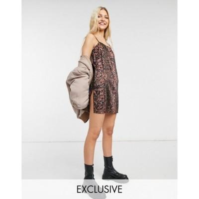 コリュージョン レディース ワンピース トップス COLLUSION thigh slit 90s mini satin slip dress in snake print Snake print