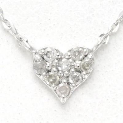 K18 18金 WG ホワイトゴールド ネックレス ダイヤ 0.1 総重量約1.3g 中古ジュエリー