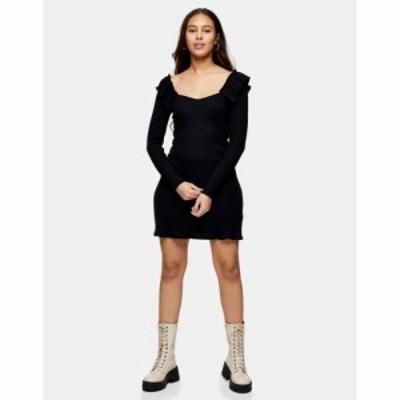 トップショップ Topshop Petite レディース ワンピース ミニ丈 ワンピース・ドレス frill skater mini dress in black ブラック