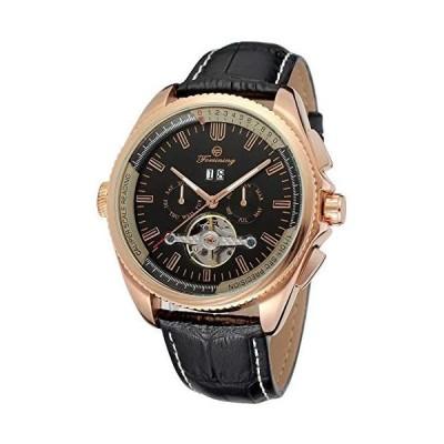 FORSINING トゥールビヨン 自動機械式腕時計 メンズ クラシック 多機能 レザーストラップ 2