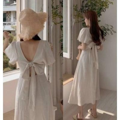 韓国 ファッション レディース リネン ワンピース ロング リボン 背中見せ Vネック 半袖 バックシャン セクシー 大人可愛い フェミニン