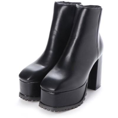 ミニア minia チャンキースクエアミドルブーツ(219627) (ブラック(PU))