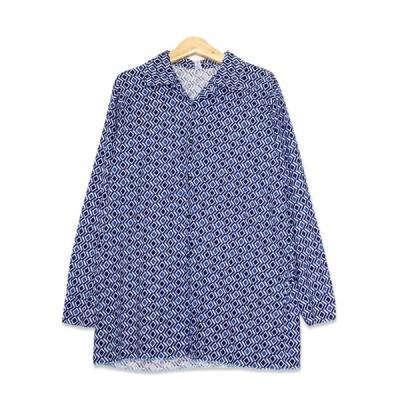 Damen Schwarz ひし形パターン 長袖 オープンカラーシャツ メンズMサイズ ネイビー ユーズド 古着 t200518-192