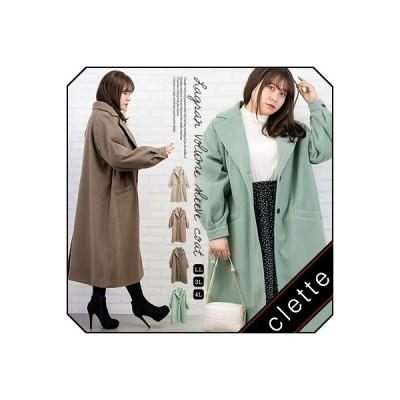 大きいサイズ レディース ラグランボリューム袖コート