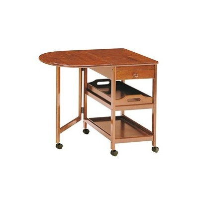 koeki 木製テーブル付きワゴン ブラウン KW-415(BR)