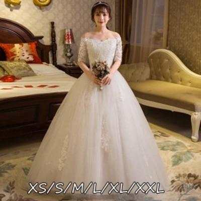 結婚式ワンピース ウェディングドレス 花嫁 上品 エレガントスタイル 高級刺繍 着痩せ マキシドレス ホワイト色