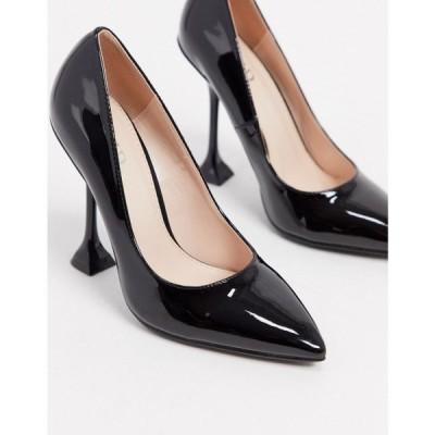 レイド Raid レディース パンプス シューズ・靴 RAID Lianni feature heel court shoe in black patent ブラック
