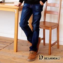 【Dreamming】徽章抓痕刷色伸縮小直筒牛仔褲(深藍)