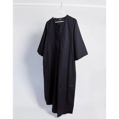 セレクティッド レディース ワンピース トップス Selected Femme poplin midi dress with kimono sleeves in black Black