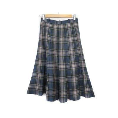 【中古】レリアン Leilian スカート フレア タック チェック ウール 9 青 ブルー レディース 【ベクトル 古着】