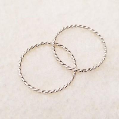 極細 シルバーリング ツイスト 韓国産 指輪 シンプル Silver Ring カップルリング ファラッジリング ピンキーリング