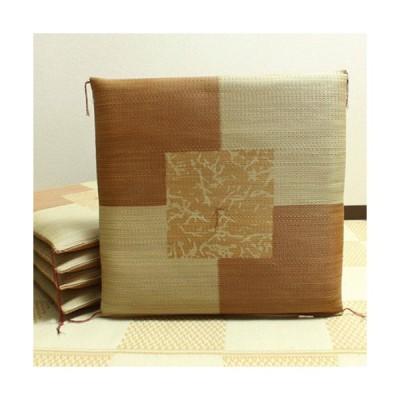 【メーカー直送】純国産 捺染返し い草座布団 草美(くさび) 5枚組 ブラウン 約55×55cm×5P