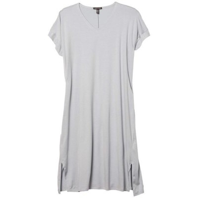 エイリーンフィッシャー レディース ワンピース トップス V-Neck Short Sleeve Dress