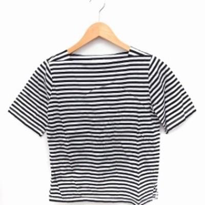 【中古】ユナイテッドアローズ UNITED ARROWS Tシャツ カットソー ボーダー スクエアネック 半袖 綿 白 黒 /FT13
