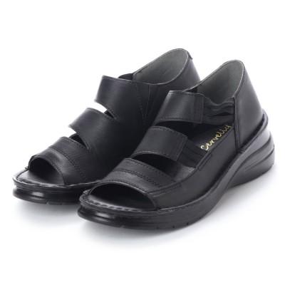 プログレッソ PROGRESSO もっともっと楽に快適、快歩 足裏 やわらかフカフカ 軽量スニーカーサンダル (ブラック)