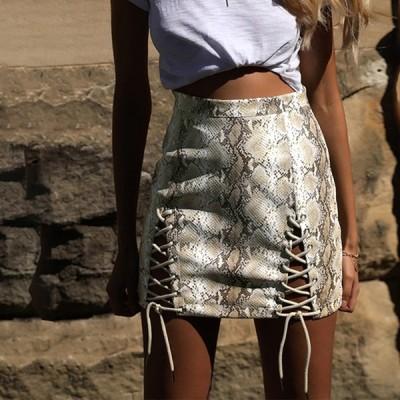 欧米ファッション タイトスカート ミニスカート レザー/PUスカート 蛇紋柄 3色 レースアップ スカート 通勤 OL オフィス 結婚式 二次会 パーティー