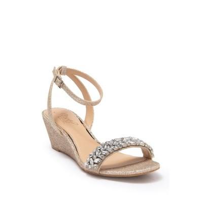 ジュウェルダグレイミシュカ レディース サンダル シューズ Bellevue Embellished Ankle Strap Wedge Sandal GOLD FABRI