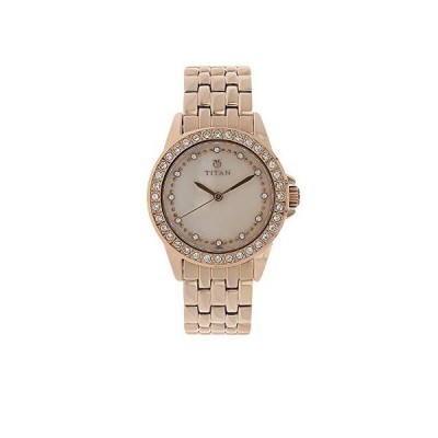 タイタンWomen 's Contemporaryスワロフスキー真珠の腕時計(ケースmodel-9798) Mother of Pearl/Gold